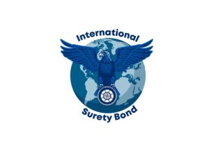 Blue eagle with wings spread in front of a 2 tone blue globe holding Seaman's Insurance Groups logo in its talons. Above the Eagle the word International below the eagle Surety bond How is a surety bond